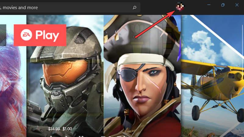 Microsoft Store - Select Profile Icon