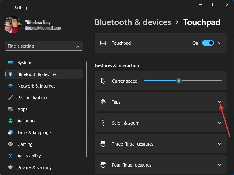 Settings › Touchpad › Expand Taps