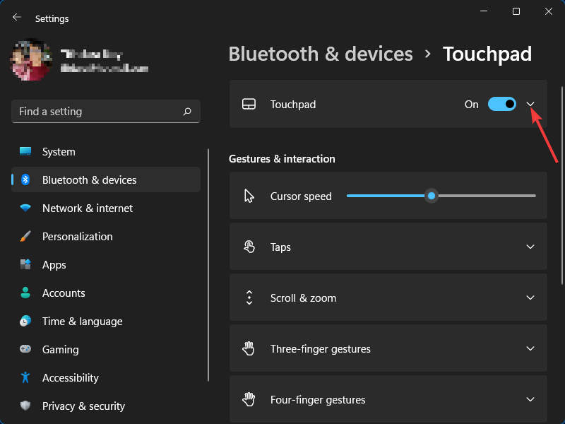 Settings › Touchpad › Expand Touchpad