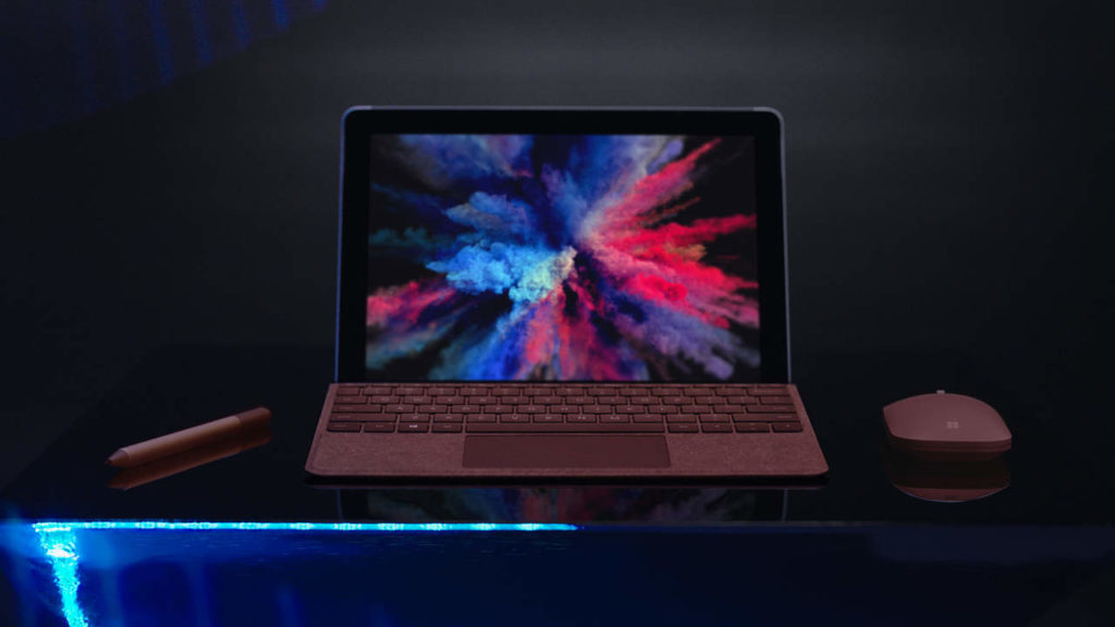 Surface Go with Burgundy Accessories