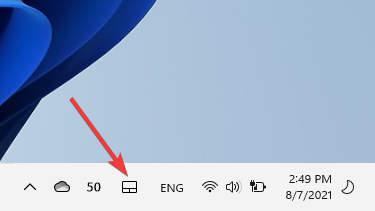 Virtual touchpad icon on Taskbar