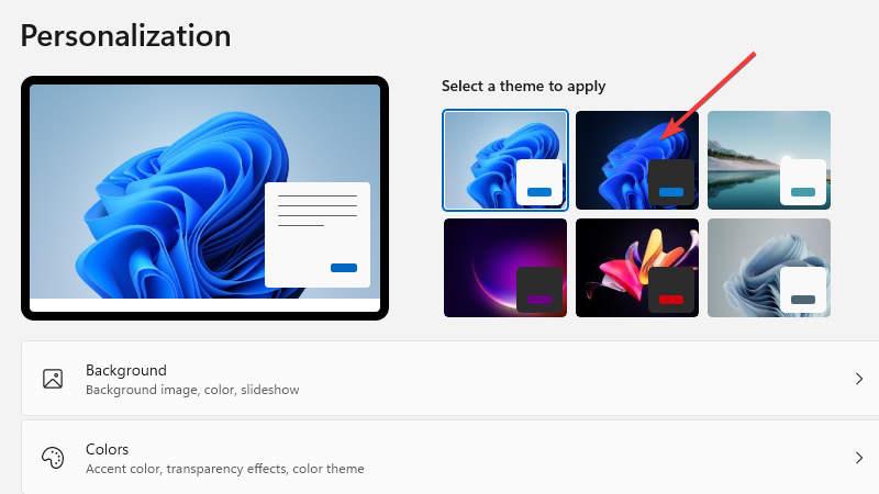 Windows 11 change theme to dark mode theme