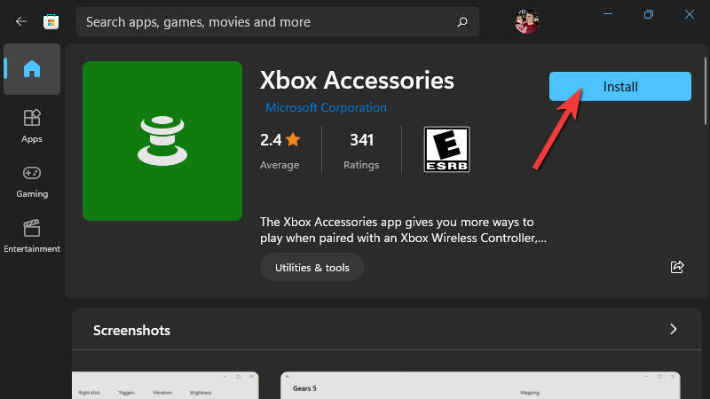 Install Xbox Accessories App