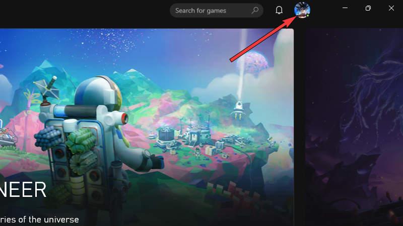 Xbox App - Select Profile Icon